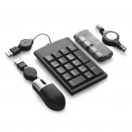 Akcesoria komputerowe w nylonowym etui, myszka, przedłużacz do myszki, hub z 4 portami USB 1.1, klawiatura numeryczna (V3138-00)