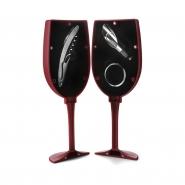 Akcesoria do wina w etui w kształcie kieliszka: nalewak, obręcz i nóż kelnerski (V5496-05)